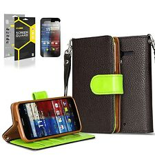 Brown PREMIUM PU Leather Stand Wallet Case Flip Cover for Motorola Moto X