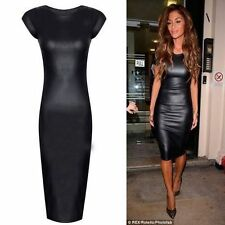 Womens Ladies wetlook PVC Foux Leather Look Celebrity Style Party Midi Dress Top