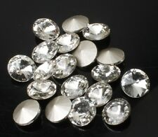 20 Rhinestone Faceted Pointed foiled Back Glass Jewels Craft round stone pk size