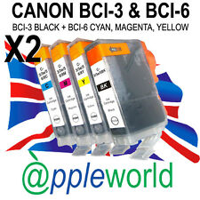 2 SETS [8 inks] Canon Ink Cartridges compatible with BCI-3Bk + BCI-6 C, M, Y