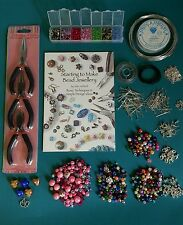 Giant Large Jewellery Making Starter Kit Pliers, Book beads silver plated, Boxed