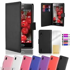 WALLET PU LEATHER CASE COVER FOR LG Optimus L5 (E610)  SCREEN PROTECTOR