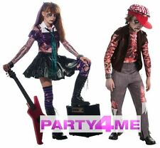 Girls Boys Zombie Punk Rocker Goth Costume Halloween Fancy Dress Kids Childrens