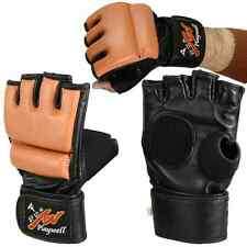 Playwell Brown Leather MMA Fight Gloves Grappling Sparring Punch Bag Mitts