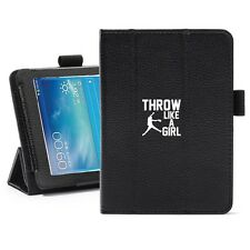 "Samsung Galaxy Tab 3 7.0 7"" Leather Cover Stand Case Throw Like A Girl Softball"