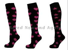 Knee High Cotton Rich Wellie Socks - Pink Hearts, Spots or Stars Black Socks