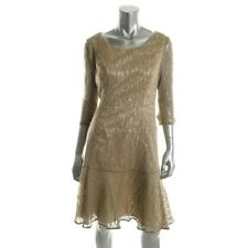 Evan Picone Gold Metallic Knee-Length Lined Lace Party Cocktail Dress - NEW