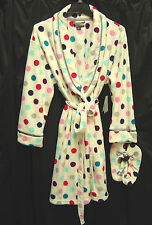 ULTRA SOFT PLUSH POLKA DOTS MICRO FLEECE NIGHTGOWN WRAP ROBE & SLIPPERS~2X~NEW