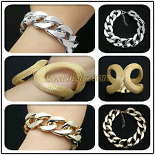 Fashion Gold Silver Chunky Curb Lady Bracelet Bangle Hand Chain Catenary Present