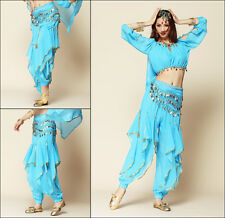 3-in-1 Belly Dance Costume Top+Gold Wavy Pants+Golden Coins Hip Scarf  8 Colors