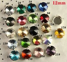 20pcs 12mm sew on faceted round crystal glass foiled rhinestones jewels pk color