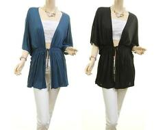 Women PLUS Flutter Stretch Jersey Knit Open Front Drap Cardigan Blouse Shirt Top