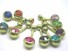 New 8MM SOLID Titanium GOLD PVD STEM  with crystal  BELLY BAR BANANA BAR HOOD