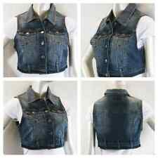 new women crop denim basic jean vest jacket dark Wash Big size xl/2xl/3xl
