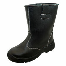 Mens New Black Leather Steel Toe Cap Pull On Safety Rigger Work Working Boots
