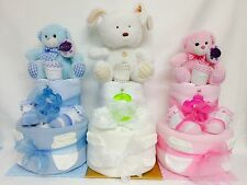 2 Tier Nappy Cake Boy/Girl Christening/Baby shower/New born/Mum to be Gift..