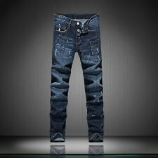 Men Italy Fashion Distressed Jeans  1284 Size 29-30 Destroyed Ripped Biker Pants