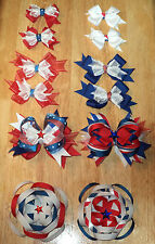Handmade BOUTIQUE Girls, Toddlers, Baby HAIRBOWS Hair Bows AMERICANA Variety