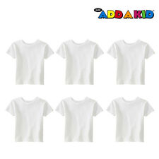 6 Pack - Just Add A Kid Toddler Children Kids Plain 100% Cotton White T-Shirt