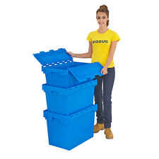 Euro Storage Boxes Blue Plastic With Lids 3 Sizes Stackable Containers Box Crate