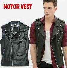 Fashion Korean Men's Slim Fit Faux Leather Motor Vest Cool Sleeveless Jacket