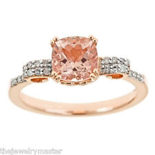 WOMENS 1.37 CARAT MORGANITE CUSHION CUT DIAMOND RING 925 STERLING SILVER ROSE