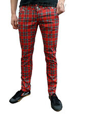Skinny Jeans For Men Drainpipes Trousers Red Tartan Punk All Size