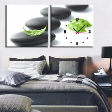 Leaf On Stone Modern Decorative Clock  On Canvas Prints Set Of 2 Diptych FRAMED