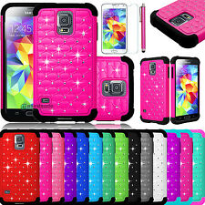 Hybrid Rugged Rubber Bling Crystal Case Cover for Samsung Galaxy S5 S V i9600