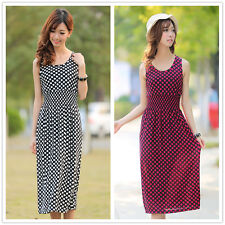 Womens Girl Beach Polka Dot Maxi Long Jersey Bodycon Dress Party Cocktail Summer