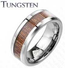 New Tungsten Men's Wood Inlaid/Inlay Comfort Fit Band Ring Size 9-13 (TU207)