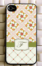 Monogrammed iPhone 5 case cute floral personalized cover iPhone 4 MG-027
