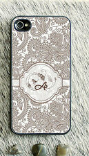 Monogrammed iPhone 5 case grey damask personalized cover iPhone 4 MG-052