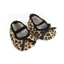 Newborn Infant Leopard Brown Bow Baby Girls Soft Crib Shoes 3-12 Months