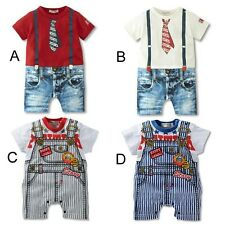 2014 New Arrival Tie Brace Pattern Baby Romper Outfit Bodysuit for 2-18M