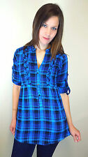 WOMENS LADIES PLUS SIZE PACK OF 2 BLUE CHECK BLOUSE SIZE 8 10 12 14 16 18 20 22