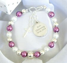 Girls Boys Personalised First Holy Communion Christening Bracelet Engraved Charm