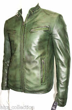 Carter Mens Gents Green Designer Real Sheep Nappa Lambskin Washed Leather Jacket