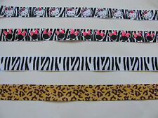ZEBRA PRINT / LEOPARD / CHEETAH / WILD ANIMAL GROSGRAIN RIBBON - 25mm/22mm