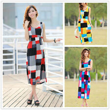 Womens Girls Beach Square Maxi Long Jersey Bodycon Dress Party Cocktail Summer