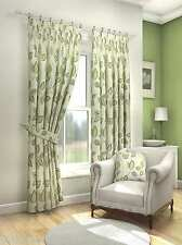 MODERN FRESH GREEN CREAM FLORAL LEAF CURTAINS LINED PENCIL PLEAT 9 SIZES #ASOR