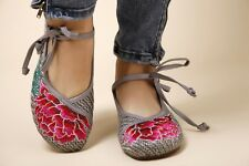 Ladies Embroidered Linen Mary Jane Shoes Chinese Flower Ballet Shoes  two colors