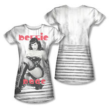 Bettie Page Boots Front Back Print T-Shirt Junior Women Crew White S M L XL 2X
