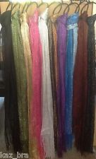 "Ladies sparkly scarf choice colours glitter lightweight net like length 70"" new"