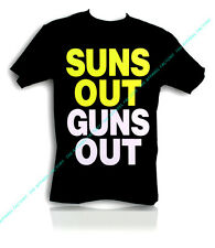 New SUNS OUT GUNS OUT Black T-Shirt Funny rave muscle gym workout bodybuilding