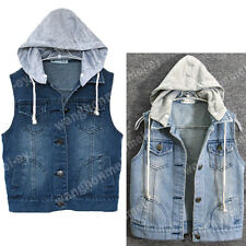 Women Sleeveless Outerwear Vintage Frayed Denim Vest Jean Waistcoat Jacket