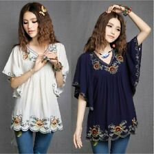 Ethnic Style Floral Shirt Embroidered Hippie Women Blouse Dress Bat Sleeve Top