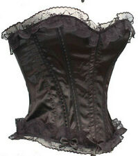 Black Top Lace Corset With Satin G-String Set S M L XL XXL New Sexy Fashion