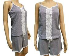 Hunkemoller Cotton Striped Lace Teddy Short Pyjamas Onesie Lounger Playsuit