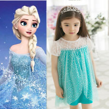 Hot Girls Kids Princess Frozen Queen Elsa Costume Cosplay Tulle Dress Skirt 2-7T